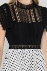 Robe bimatière haut en dentelle et jupe évasée par la marque de mode parisienne Koshka Paris