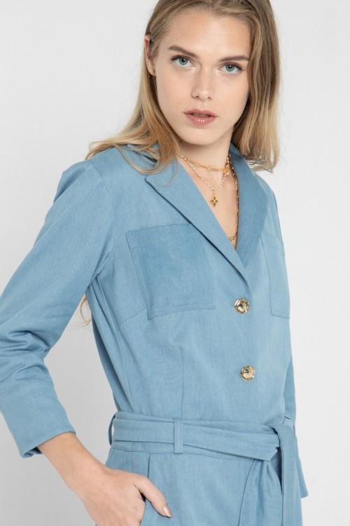 Combi-pantalon en jean à ceinture créé par la marque de mode parisienne Koshka Paris