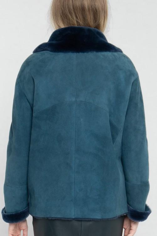 Bomber en peau lainée avec col en fourrure créé par Koshka Paris 3