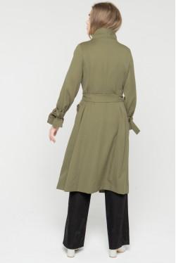 Trench-coat kaki croisé en laine à ceinture créé par Koshka Paris 5