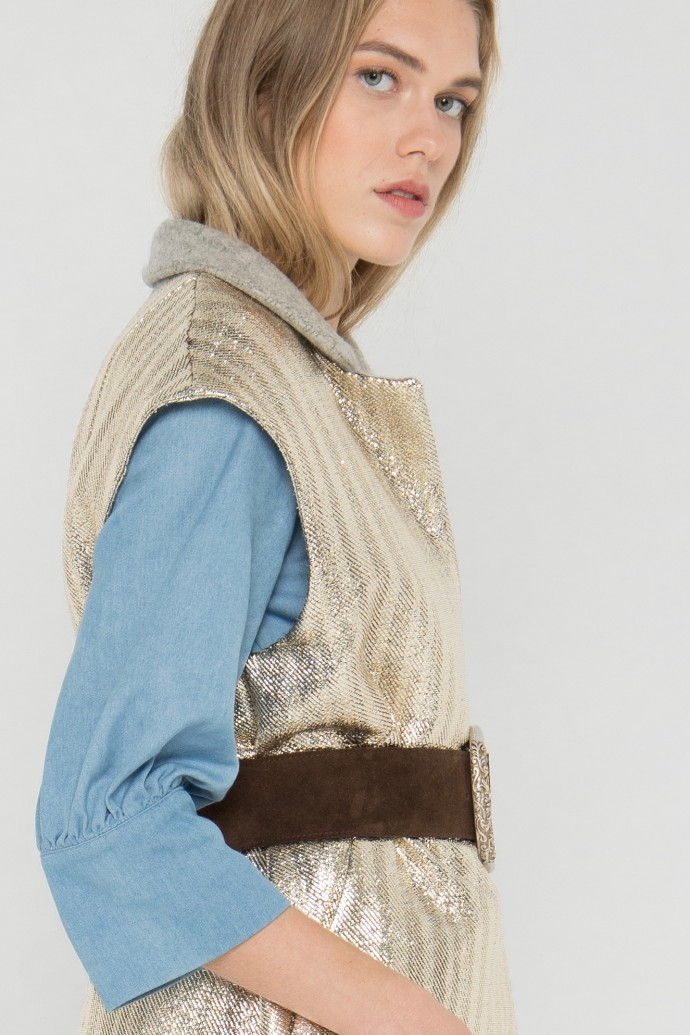 Veste blazer sans manches en laine et lurex créée par Koshka Paris 1