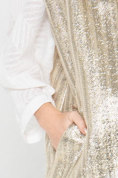Veste blazer sans manches en laine et lurex créée par Koshka Paris 2