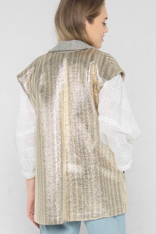 Veste blazer sans manches en laine et lurex créée par Koshka Paris 3