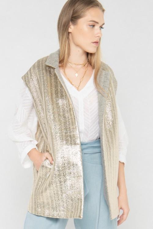 Veste blazer sans manches en laine et lurex créée par Koshka Paris 5