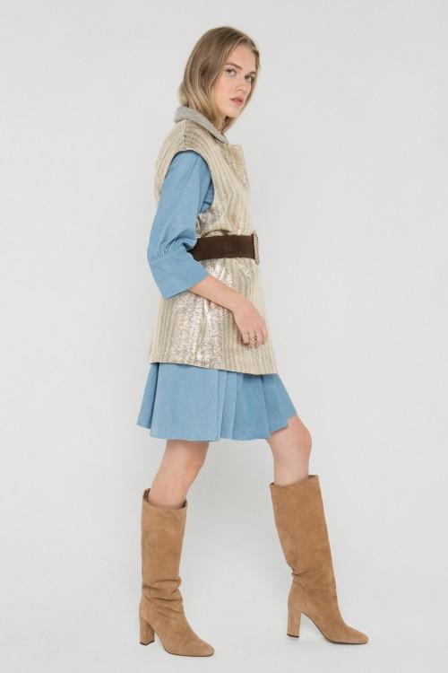 Veste blazer sans manches en laine et lurex créée par Koshka Paris 6