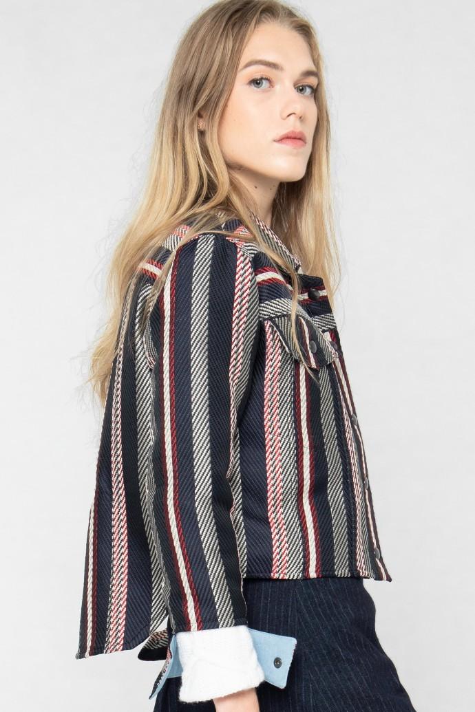 Veste courte habillée en jacquard rayé tricolore par Koshka Paris 1