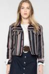 Veste courte habillée en jacquard rayé tricolore créée par Koshka Paris 3