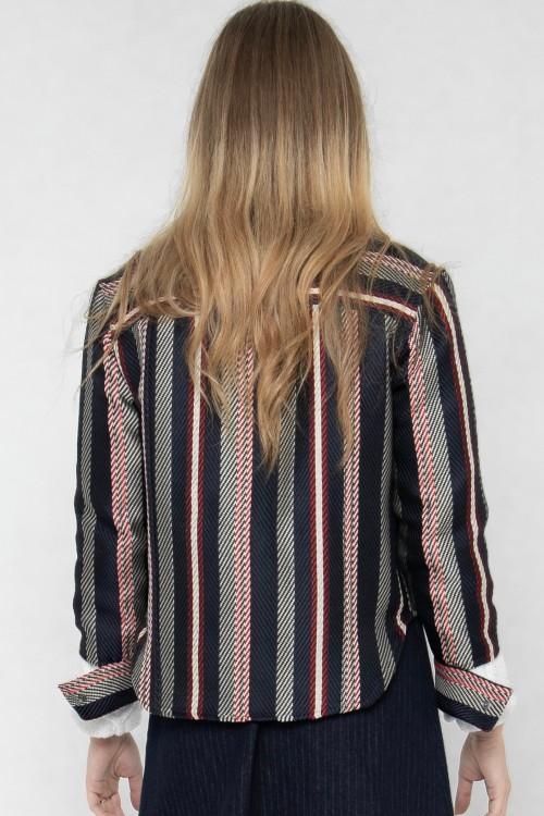 Veste courte habillée en jacquard rayé tricolore créée par Koshka Paris 4