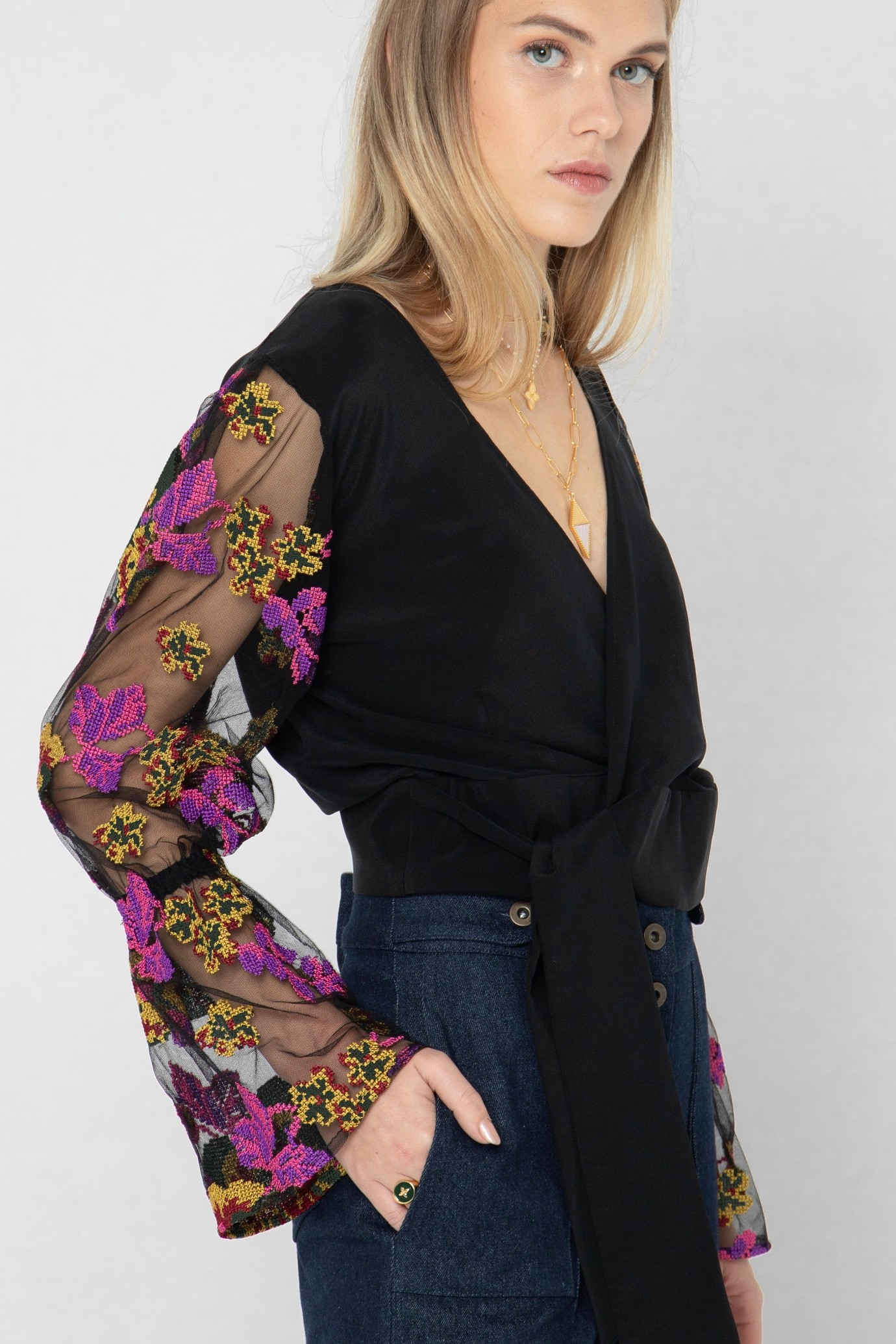 black blouse with embroidered tulle sleeves 1