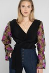 black blouse with embroidered tulle sleeves 2