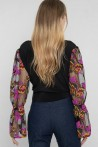 black blouse with embroidered tulle sleeves 3