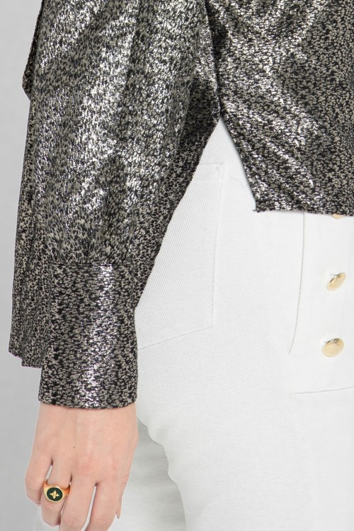 Blouse chemisier chic col cravate en soie lurex créée par Koshka Paris 2