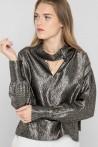 Blouse chemisier chic col cravate en soie lurex créée par Koshka Paris 4