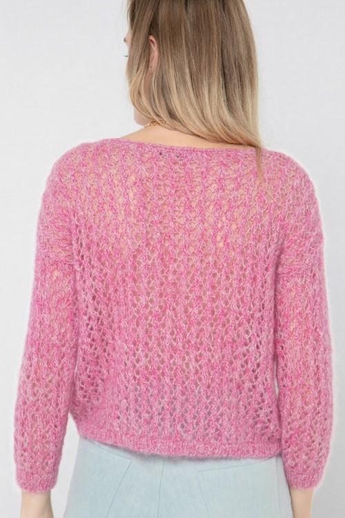 Pull ajouré tricoté à la main 2