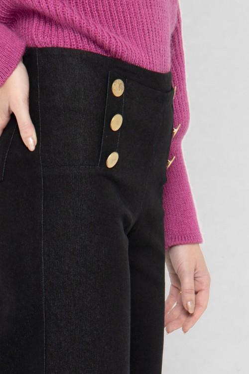 pantalon à pont de couleur noire 3