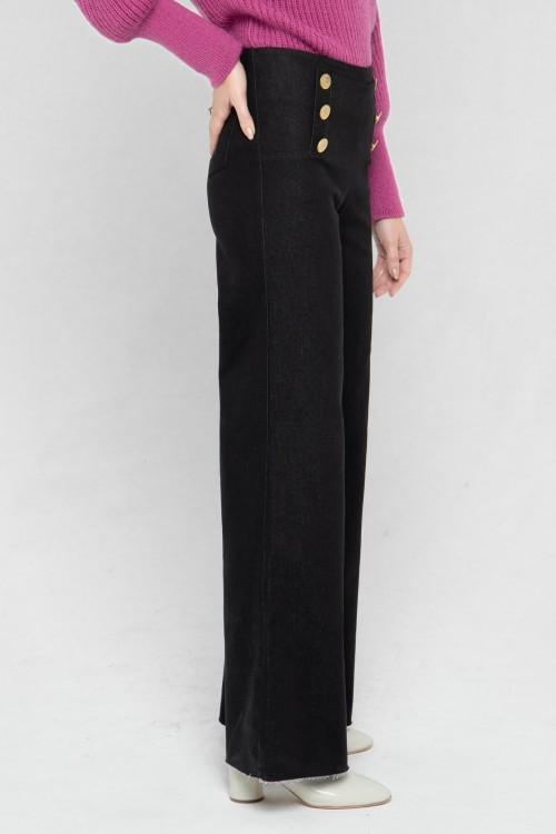 pantalon à pont de couleur noire 5